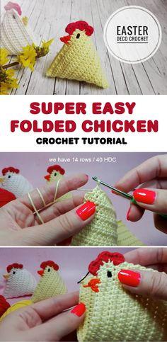 Crochet chicken for Easter. Crochet for Easter - free tutorial. Crochet Bird Patterns, Crochet Birds, Crochet Stars, Easter Crochet, Knit Or Crochet, Learn To Crochet, Crochet Roses, Crocheted Flowers, Simple Crochet