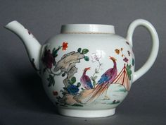 #0192  18th Century Rare & Finely Painted Richard Chaffers or Philip Christian Liverpool Porcelain Teapot c1760-1770