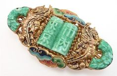 MAX-NORBERT-NEIGER-ART-DECO-CHINESE-BROOCH-VINTAGE-CZECH-GLASS