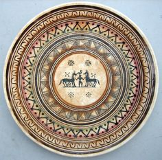 Rare Vintage Hand Made & Painted Greek Geometric Antique Style Wall Plate | eBay