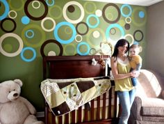 Coolest baby room!  Vinyl circles are die cut.  Design by Laura- Kola Designs.  I want this in my bedroom!