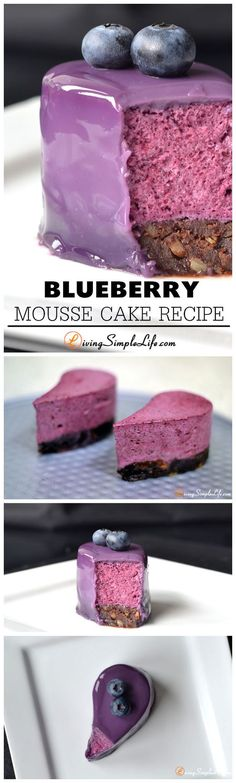 Blueberry Mousse Cake Recipe Blueberry mousse on a chocolate sponge with a blueberry milk glaze. Takes just over an hour to make but is oh-so-delicious.