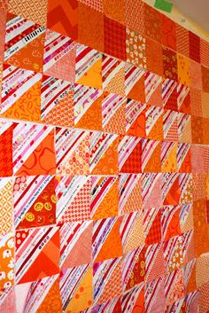 The Q and the U by Riel Nason: Orange Scraps and Selvages Quilt!