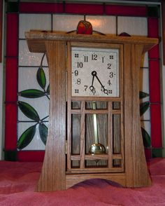 Mission / Arts And Crafts Shelf Clock With Pendulum Movement