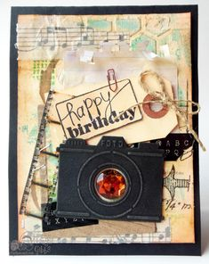 Mixed Media Masculine Birthday card - Scrapbook.com Love the Tim Holtz Filmstrip Ribbon used on this handmade card.