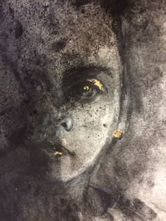 Charcoal with gold leaf