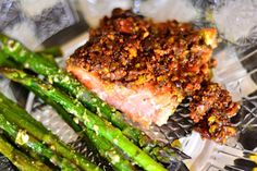 This Pistachio Lime Baked Salmon recipe is easy to prepare, bakes in under 15 minutes, and is the perfect dish for company! The flavors are amazing! Baked Salmon Recipes, Fish Recipes, Seafood Recipes, Great Recipes, Cooking Recipes, Favorite Recipes, Healthy Recipes, Seafood Meals, Family Recipes