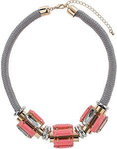 Rhinestone and Cord Collar - Topshop