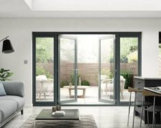 Pre-finished anthracite grey patio doors at affordable prices Modern Patio Doors, French Doors Patio, Sliding Patio Doors, Sliding Glass Door, Kitchen Patio Doors, French Balcony, Sliding French Doors, Black French Doors, French Windows
