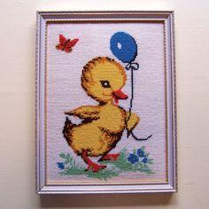 Framed Vintage Duckling Needlework by HazelLily on Etsy, $22.00