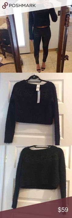 ✨Final Sale✨ LF Black Crop Sweater LF super soft black long sleeve crop sweater with embroidery detail. SIZE: M RETAIL: $178 NWT! LF Sweaters Crew & Scoop Necks