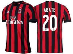 fc946ac029 Men 20 Ignazio Abate Jersey Home Soccer AC Milan Jersey 2018 Serie A.  Maillot De Football Pas CherKits ...