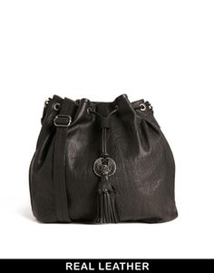 Amused+By+Ameko+Black+Leather+Wing+Bag+With+Tassel