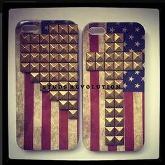 STUDDED AMERICAN FLAG iPhone 5 case-bronze studs cross on iphone5 cover,stud on apple phone case,custom stud case,studs revolution on Etsy, $12.99