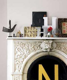 Create a display that can be easily updated to suit your mood by grouping like objects together.