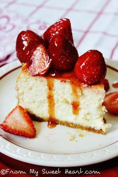 Vanilla Bean Cheesecake with Strawberries | From My Sweet Heart.