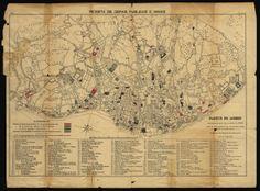 carta de Lisboa com indicação dos edifícios que resistiram ou não ao terramoto de 1755