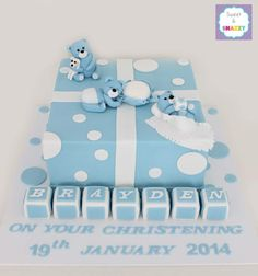 Boys Christening Cake with teddy bears by Sweet & Snazzy https://www.facebook.com/sweetandsnazzy