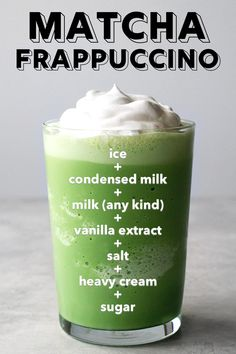 Quick and easy matcha green tea frappuccino recipe!- Quick and easy matcha green tea frappuccino recipe! Source by ohhowcivilized - Matcha Green Tea Frappuccino Recipe, Matcha Drink, Best Matcha Tea, Green Tea Recipes, Sweet Green Tea Recipe, Yummy Drinks, Tea Drinks, Beverages, Drinking Tea