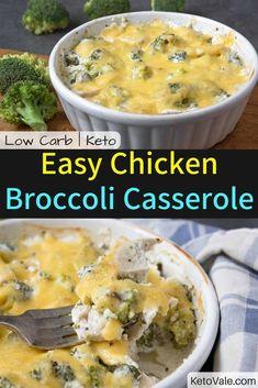 Low Carb Chicken Broccoli Casserole Keto Diet Easy Recipe via @ketovale
