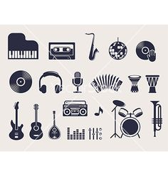 Musical instruments icons set vector by ma_rish on VectorStock®