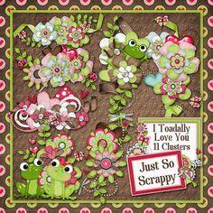 I Toadally Love You Digital Scrapbook Kit by JssScrapBoutique, $2.99