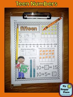"Teen Numbers for Kindergarten, printables, anchor chart, ""I Can"" standards, Common Core $"