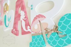 Coral and Mint Mermaid Themed Personalized Wooden Letters for Nursery by KraftinMommy on Etsy