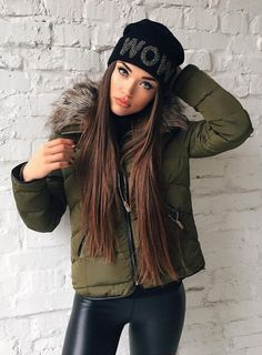 4e1f36ed2d4  winter  fashion   Army Puff Jacket + Black Beanie Sweater Weather