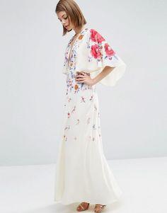 ASOS Embroidered Kimono Deep Plunge Maxi Dress on ShopperBoard 6885f0408
