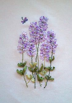 Completed needleworkribbon embroidery no framed Lavender by Artgi, $19.00--  Amazing work and an amazing cost too!  Some as low as $10.00!!!