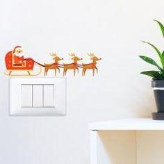 Slitta di Babbo Natale Santa Sleigh Adesivo per interruttore, spina, placca - Light Switch Sticker