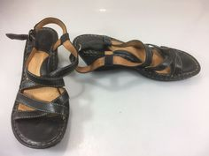 Born Wedge Sandals 10 Womens Black 42 EU Strappy Slingback Leather Shoes #Born #Strappy #Casual