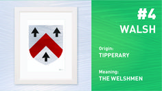 Walsh is the 4th Most Popular Irish Surname. Order your Coat of Arms at www.paintedclans.com. Hand Painted Modern Irish heraldry. Wedding or Anniversary Gift.