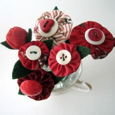 Red Mini Fabric Yoyo Button Bouquet by BigIslandRoseDesigns, $10.00