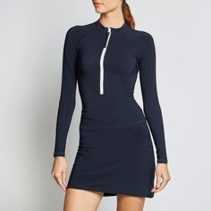 by Calm Collected Blue Colour Palette, Crew Clothing, Luxury Yachts, Rash Guard, Navy And White, Zip, Long Sleeve, Swimwear, Calm