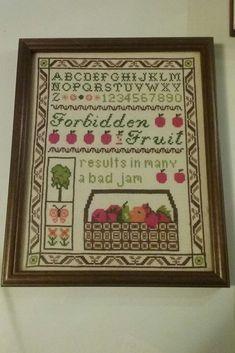 Framed Cross Stitch Sampler Forbidden Fruit 8 x 10 Forbidden Fruit, Vintage Cross Stitches, Cross Stitch Samplers, Old Ones, Types Of Art, Needlework, Frame, Handmade, Ebay