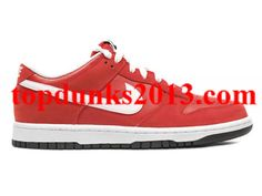 e70bf2917 Genuine Top Red White Leather Nike Dunk Low