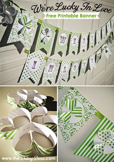 This is the cutest and easiest DIY banner ever! I am hanging this from my mantel the whole month of March! Love the Dating Divas St Patrick's Day Crafts, Holiday Crafts, Holiday Fun, Holiday Decorations, Holiday Ideas, St Paddys Day, St Patricks Day, St Pattys, Lucky In Love