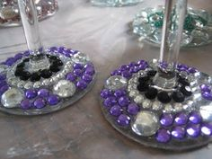 Jeweled wine glass bases