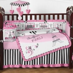 Paris 9 Piece Crib Bedding Set