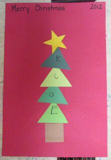 Writing names Christmas, practicing/ manipulating shapes