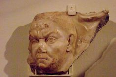 Sarcophagus Fragment depicting the head of a one-eyed man 250 CE Rome Italy