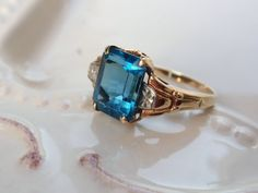 Art Deco Blue Topaz Two Tone Ring 10k Gold by LuceesTreasureChest