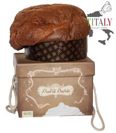 CAKE PA(N) DI BUFALA PANETTONE Original cake called Pan (n) of Buffalo as the butter dough is replaced by the use of fresh cream from buffalo, from the processing of buffalo milk used for the production of buffalo mozzarella DOP.
