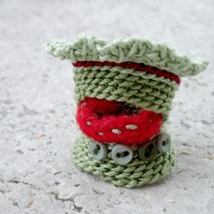 textile micro buttons cuff ring item nO.96  by kjoo on Etsy