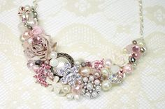 Pink Floral Statement NecklacePink Bridal Jewelry by BrassBoheme, $75.00