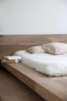 Simple, wood, platform bed.