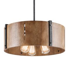 """Inspired by the wood paneling that defined an era, the Elbur 3 Light Pendant/Semi Flush is a mid-century design that will allow decorating versatality. The weather-worn look of the black distressed iron gives it a vintage feel and the softly curved natural maple panels mirror lines that were found in 50s and 60s furniture. The 3 Light Pendant also has the option to easily convert into a Semi-Flush.    Chain Length: 36"""""""