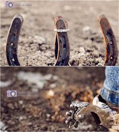 Horse Shoe Wedding or Engagement photo with the ring bringing to shoes together, this is a must! Would be cute as a proposal to a horse lover like me.